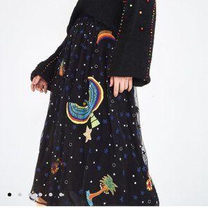 Anthropologie Farm Rio Embroidered Borgogodo Skirt